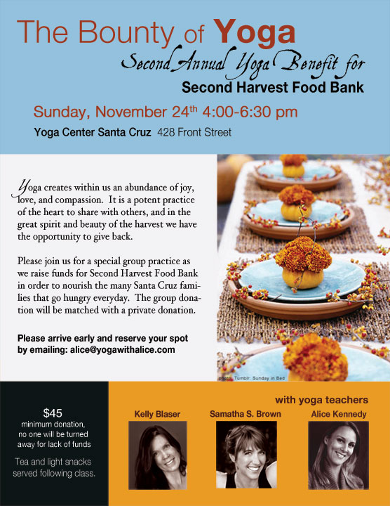 The Bounty of Yoga - Benefit for Second Harvest Food Bank